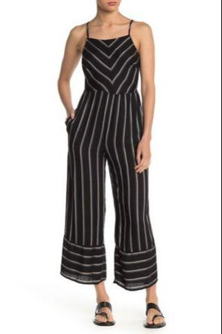 S) mimi chica卡其條紋連身褲 jumpsuit