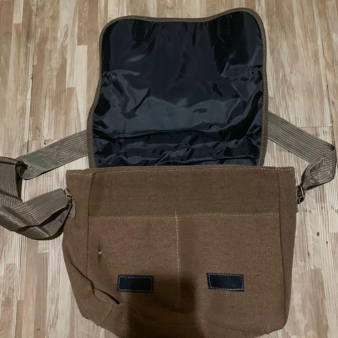 A4 Brown Fabric Sling Bag