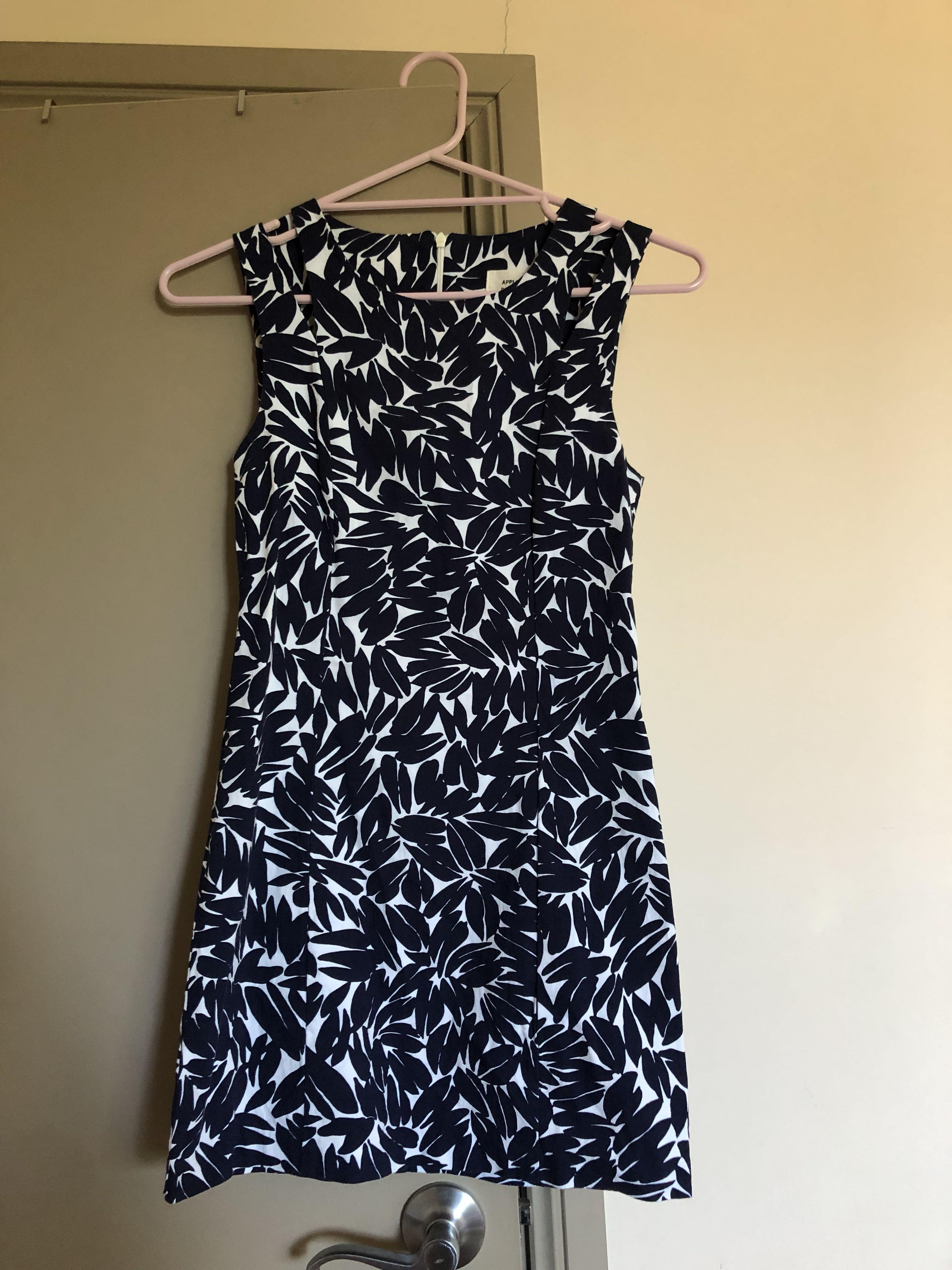 Apple & Delicious Blue and White Mini Printed Dress