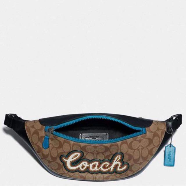 Authentic coach Warren belt Bag in signature canvas with coach script