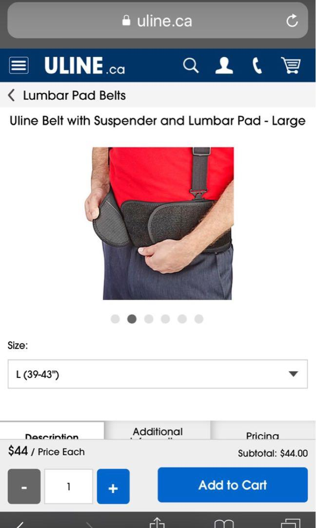 Belt with suspender and Lumbar pad -Large ( 39-43 inches)
