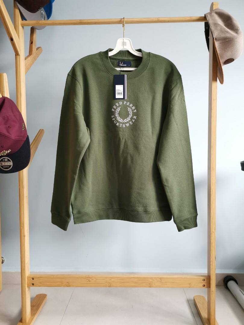 Fred Perry Archive Embroidery Sweatshirt (Sage/Green), Men's