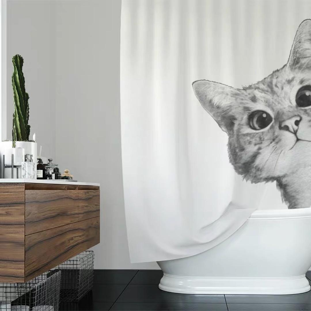 Kitty Print Shower Curtain Monochrome Cat Bathroom Furniture Home Decor Others On Carousell