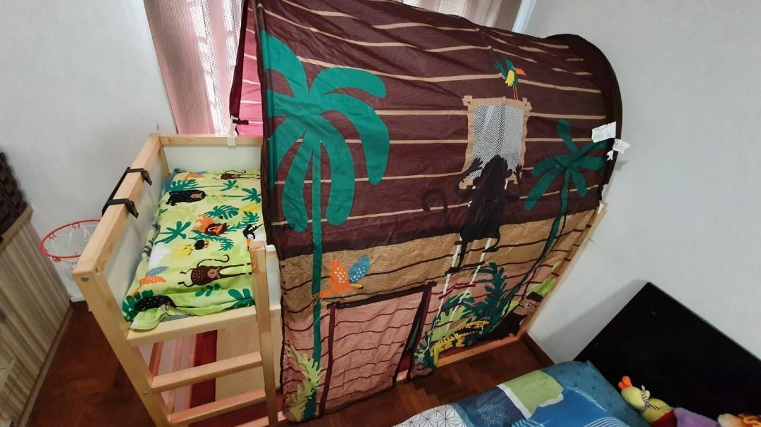 Kura Kids Ikea Reversible Bed With Jungle Bed Tent Furniture Others On Carousell