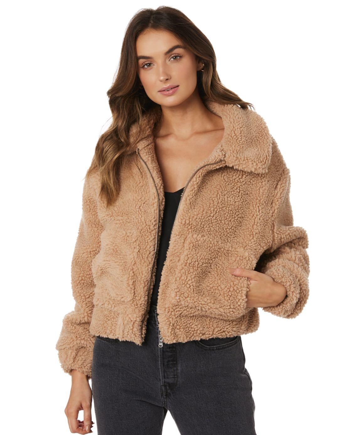 Like New! All About Eve Carey Teddy Beige Brown Cropped Short Jacket Coat XS 6