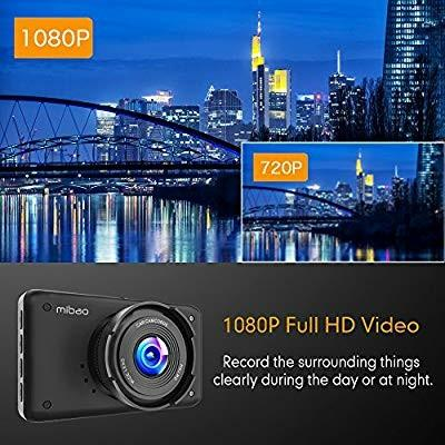 Mibao Dash Cam 1080P Dashcam Car Cameras 3 Inch LCD Screen Dashboard Cameras for Cars 170°Wide Angel WDR, Loop Recording, G-sensor, Parking Monitor, Motion Detection