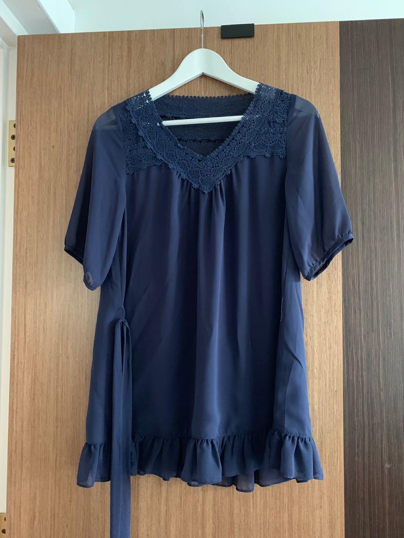 Navy blue feminine dress