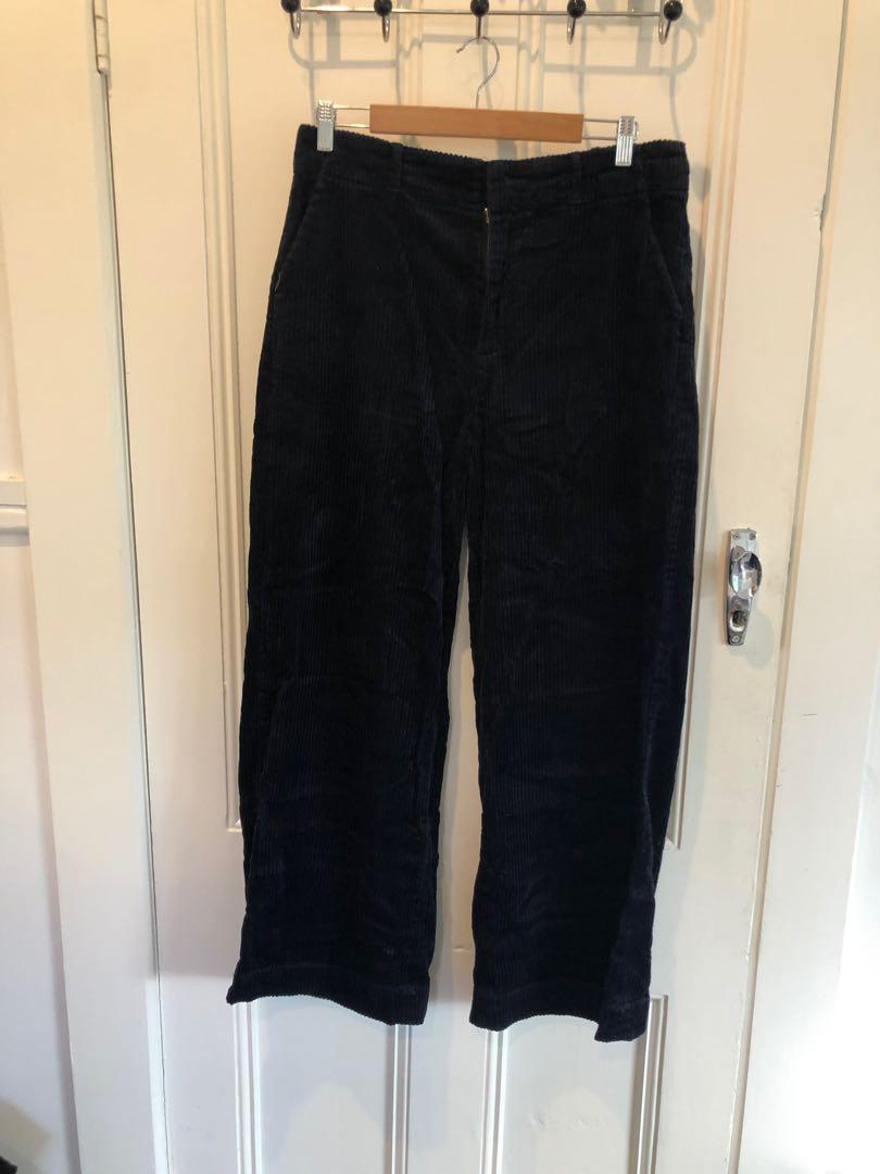 Navy flared cord pants