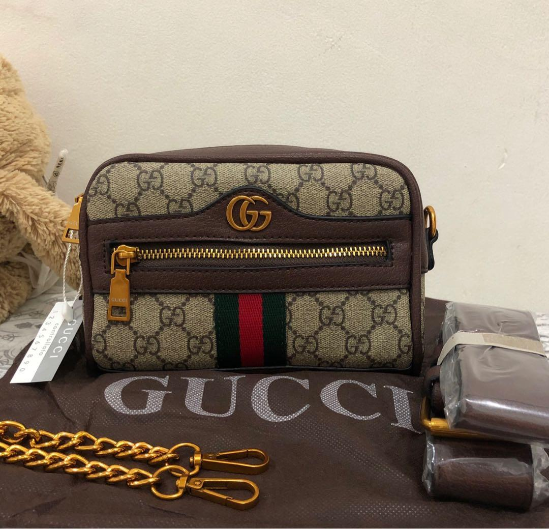 new with tag - gucci neutral beige ophidia GG supreme mini belt bag with chain strap + belt bag and dustbag.