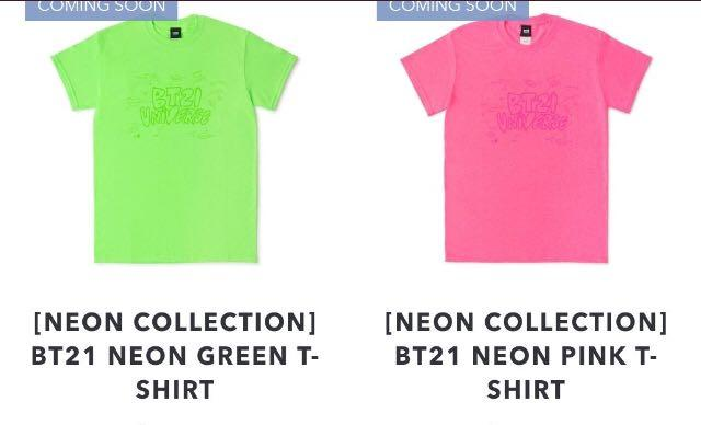 [OFFICIAL] BT21 NEON COLLECTION SHORT SLEEVE T-SHIRTS