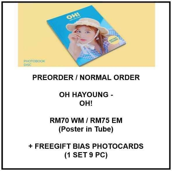 OH HAYOUNG - OH! - PREORDER/NORMAL ORDER/GROUP ORDER/GO + FREE GIFT BIAS PHOTOCARDS (1 ALBUM GET 1 SET PC, 1 SET HAS 9 PC)
