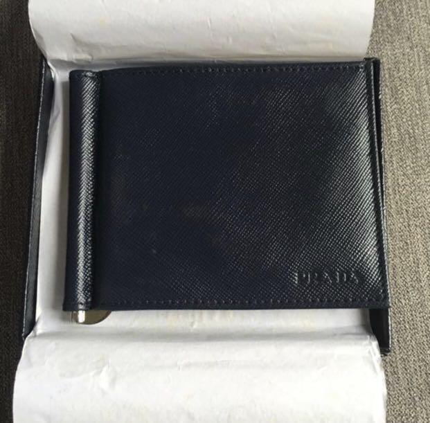 81ebe96b Prada Men's bi-fold wallet with money clip Saffiano dark blue ...