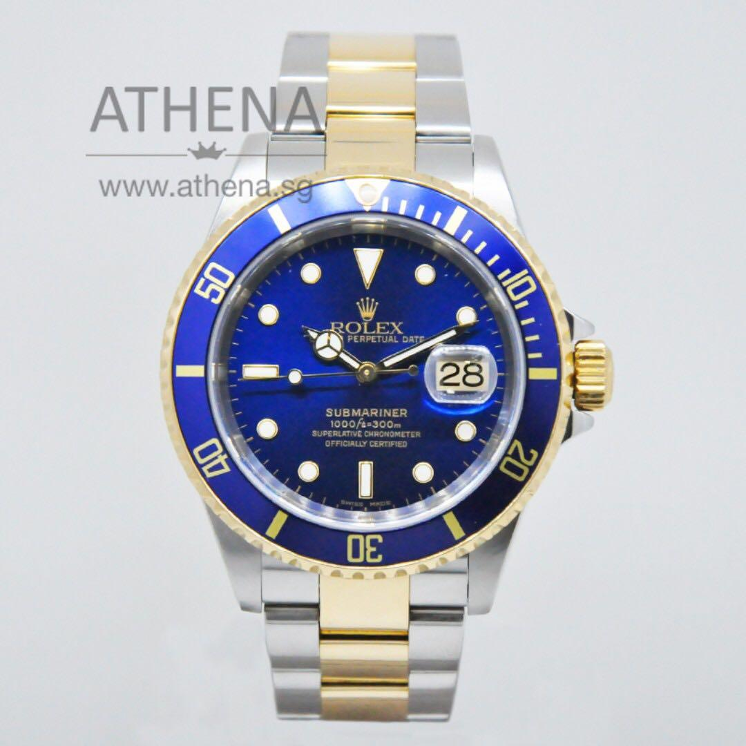 "ROLEX ""HALF-GOLD"" OYSTER PERPETUAL DATE SUBMARINER ""Y"" SERIES ""SUNBURST BLUE DIAL"" WITH CERT 16613 WLWRL_1125"