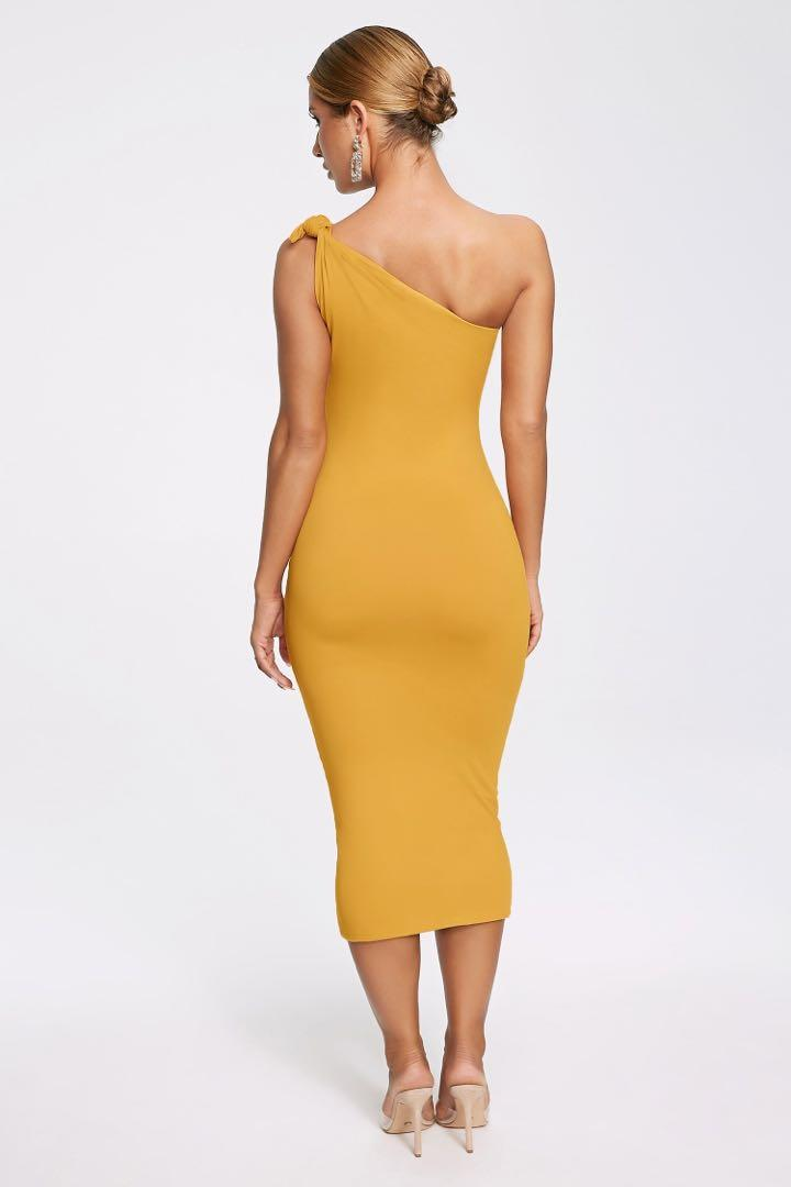 ROSETTA KNOTTED ONE SHOULDER MIDI DRESS - MARIGOLD