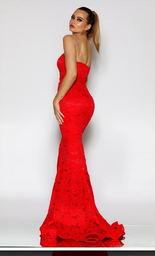 Stunning, Red Strapless Sweet Heart Bodice all Lace Mermaid gown with sweeping train. Happy to negotiate.