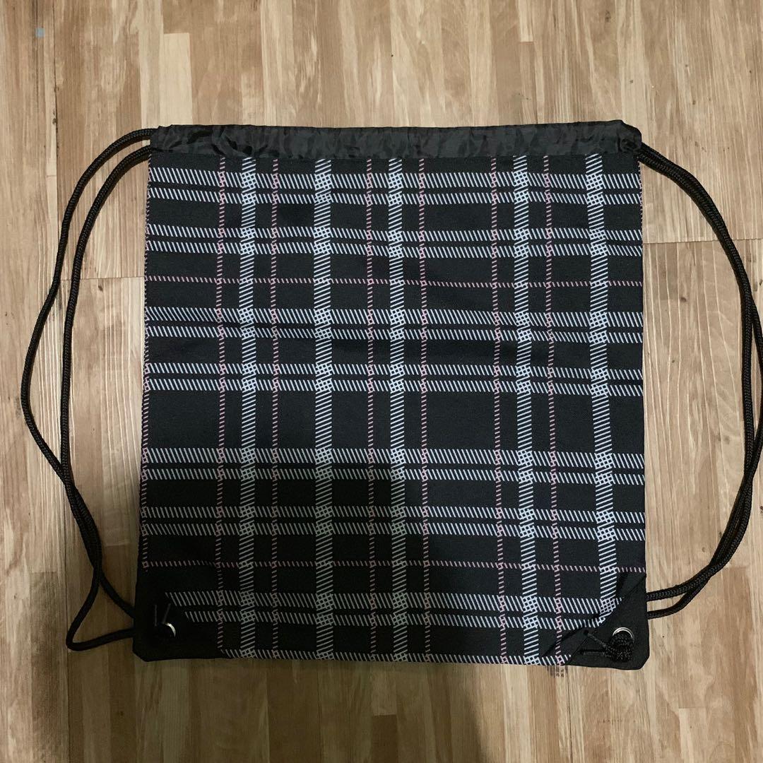 Unisex High Quality Plaited Nylon Drawstring Bag
