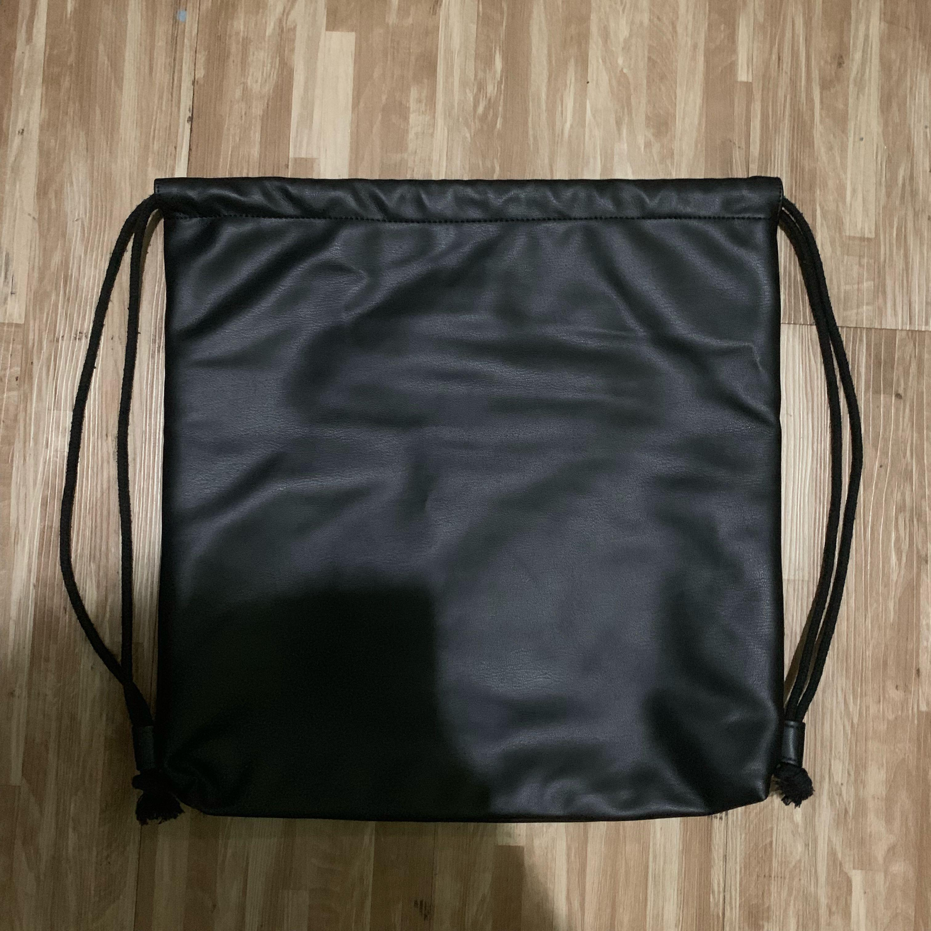 Unisex High Quality Leather Drawstring Bag With Zip