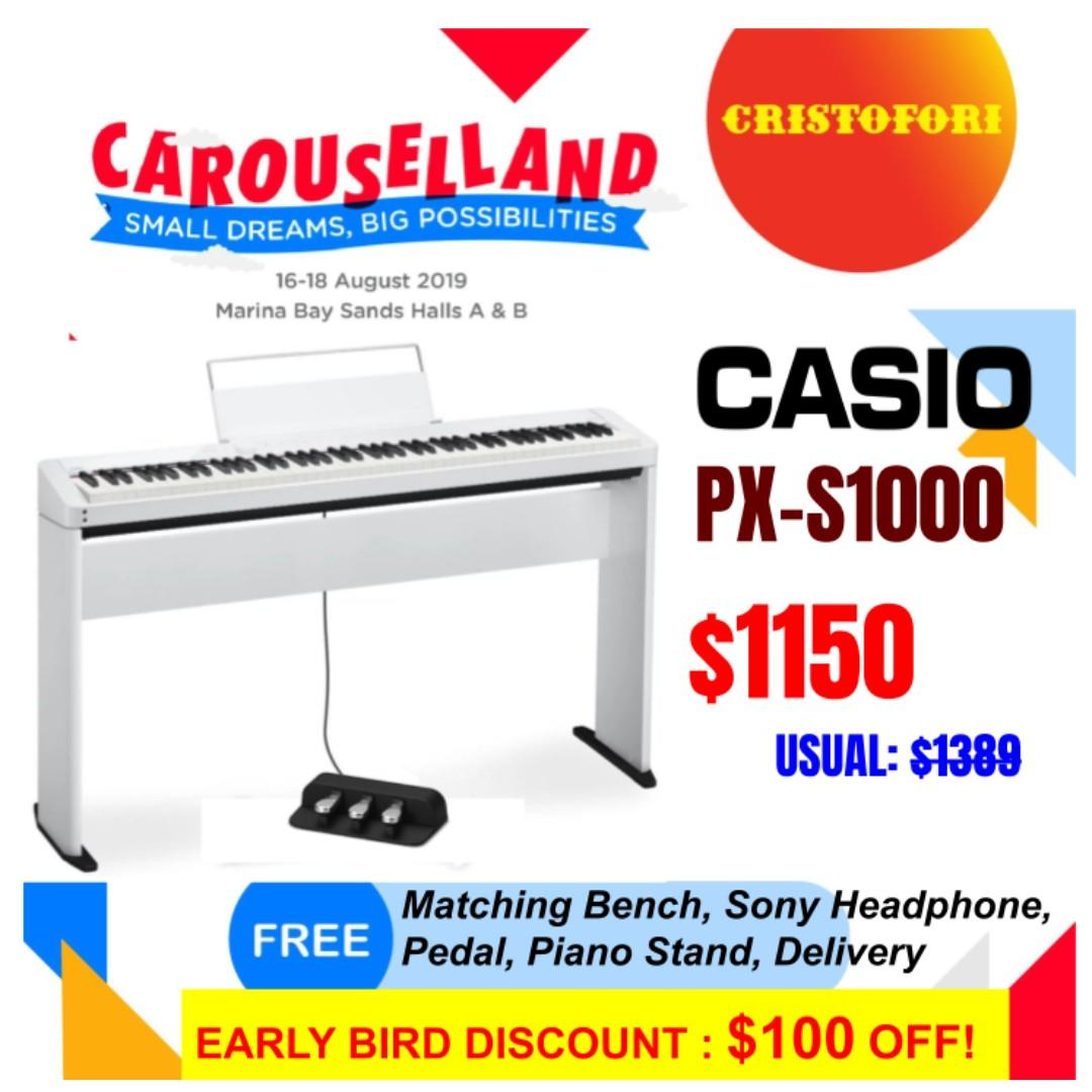 World's Slimmest Digital Piano CASIO Privia PX-S1000 with intuitive touchscreen  *with Bluetooth