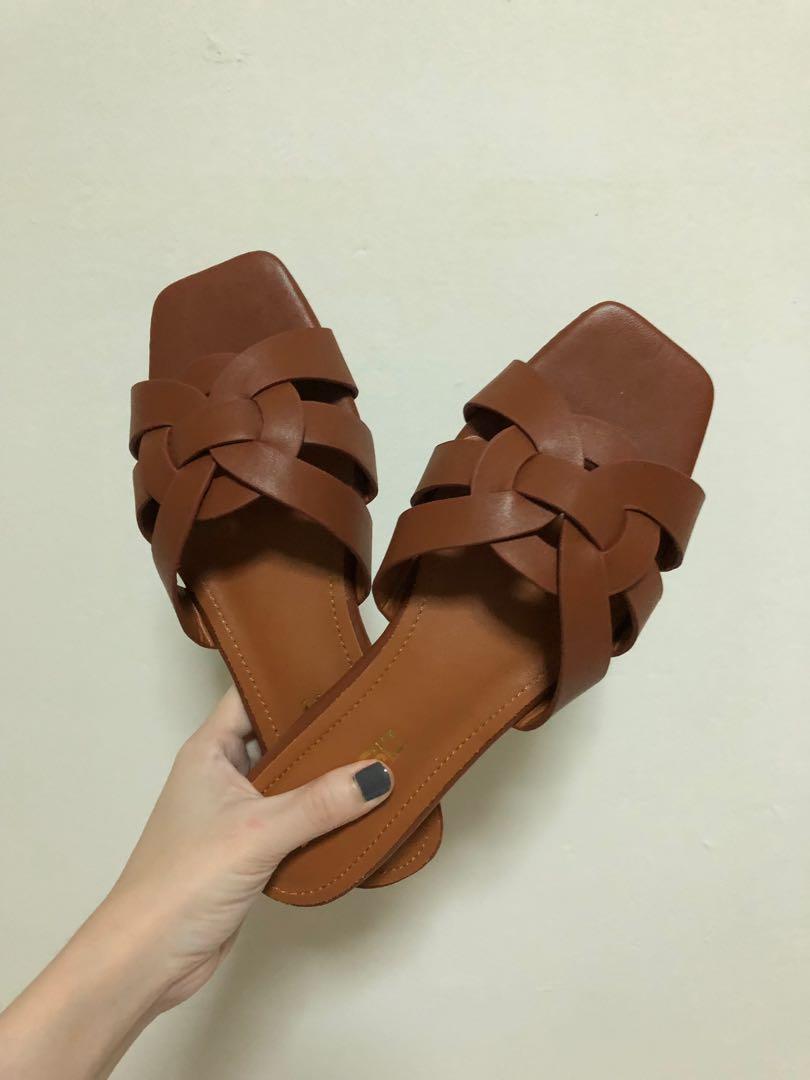 Zara inspired brown slip on sandals