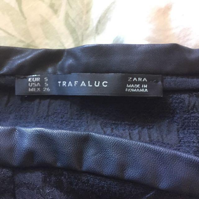 Zara mini fit and flair skirt with faux leather edging