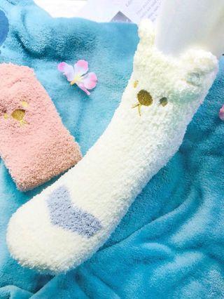 超萌噠珊瑚絨白熊襪