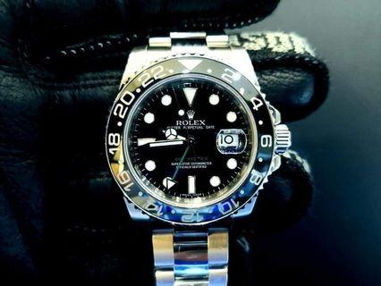 PREOWNED NEW ROLEX GMT MASTER II,  116710 LN, 904L Steel, 40mm, V Series @ 2010 Mens Watch