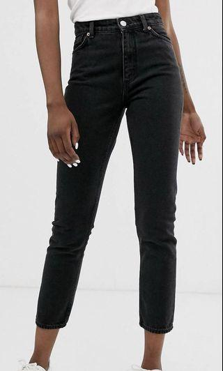 Monki kimomo high waist mom jeans with organic cotton in wash black