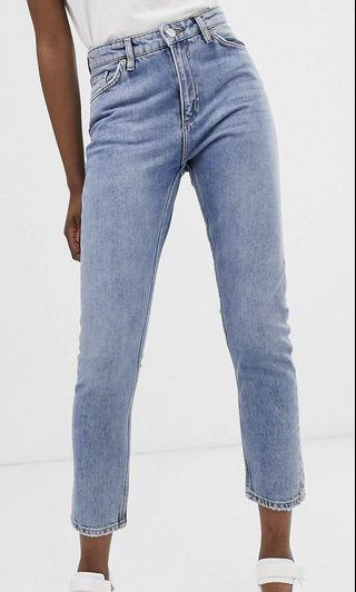 Monki kimomo high waist mom jeans with organic cotton in mid blue