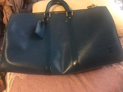LV 藍色牛皮水波紋行李袋