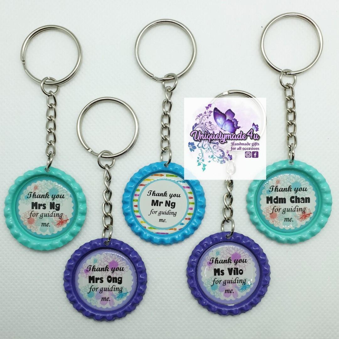 10pcs Bottlecap Keychain Teacher's Day