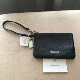 100% Authentic Coach Black Leather Wristlet Pouch - NEW