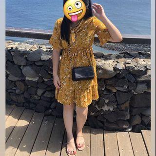🇰🇷顯白黃色小碎花洋裝/僅穿過一次