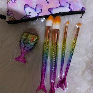 Kuas makeup with unicorn pouch
