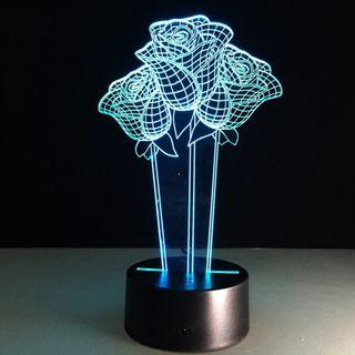 3D visual night light LED push button rose