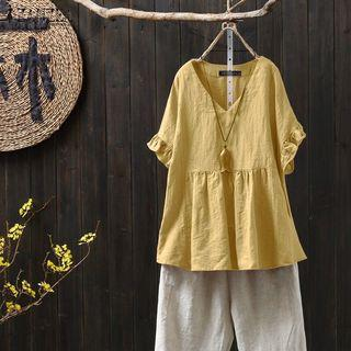 BLOUSE V NECK RUFFLE YELLOW BIGSIZE
