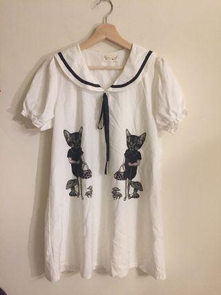 日系貓咪人物水手風小洋裝❤️