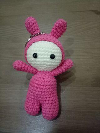 #Craft Knitted Key Chain Pink