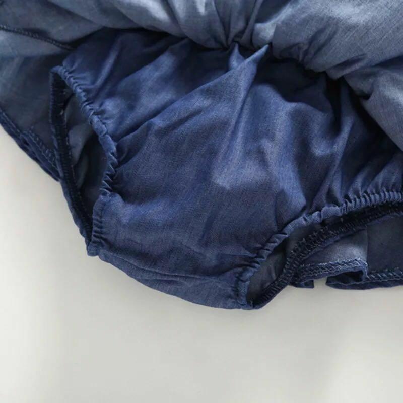 2Pc Korean White Lace Sleeves Blouse Top & Navy Shorts Set