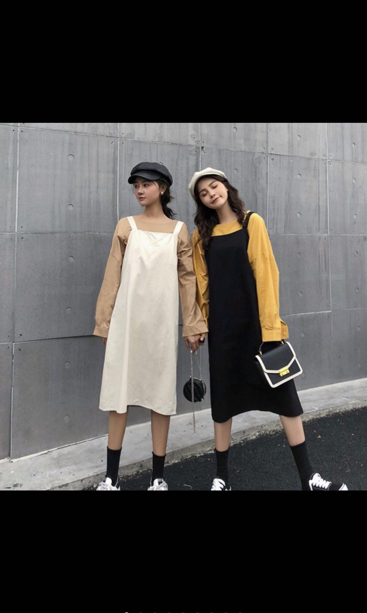 背帶裙 連身裙(黑色)