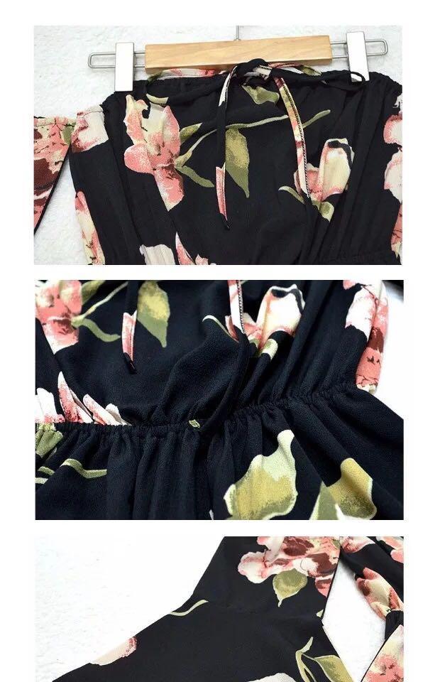 歐美連身吊帶背心裙褲 性感 sexy 沙灘度假 花花Summer beach Floral black Romper