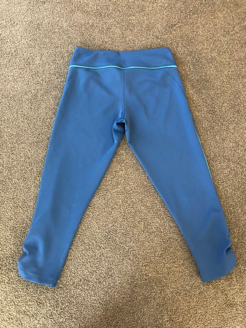 Adidas Three Quarter Gym Tights (Blue / Shock Green)
