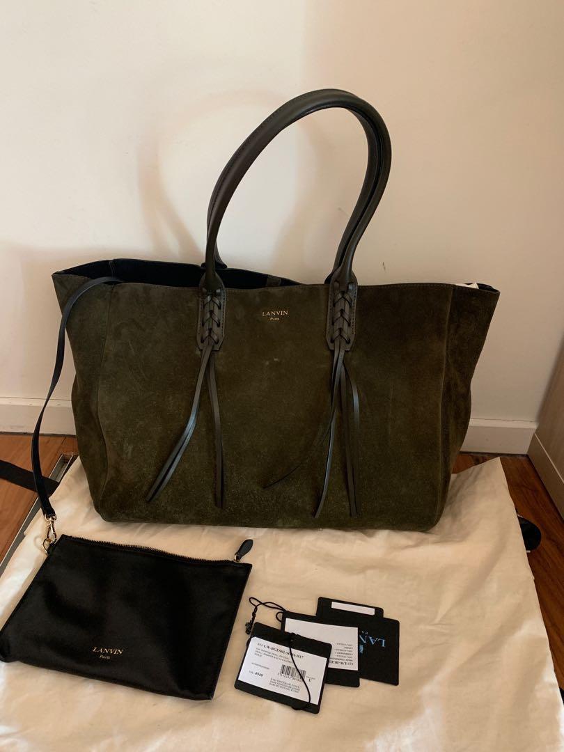 Authentic Lanvin Nela Suede Green Khaki Tote Bag Excellent condition