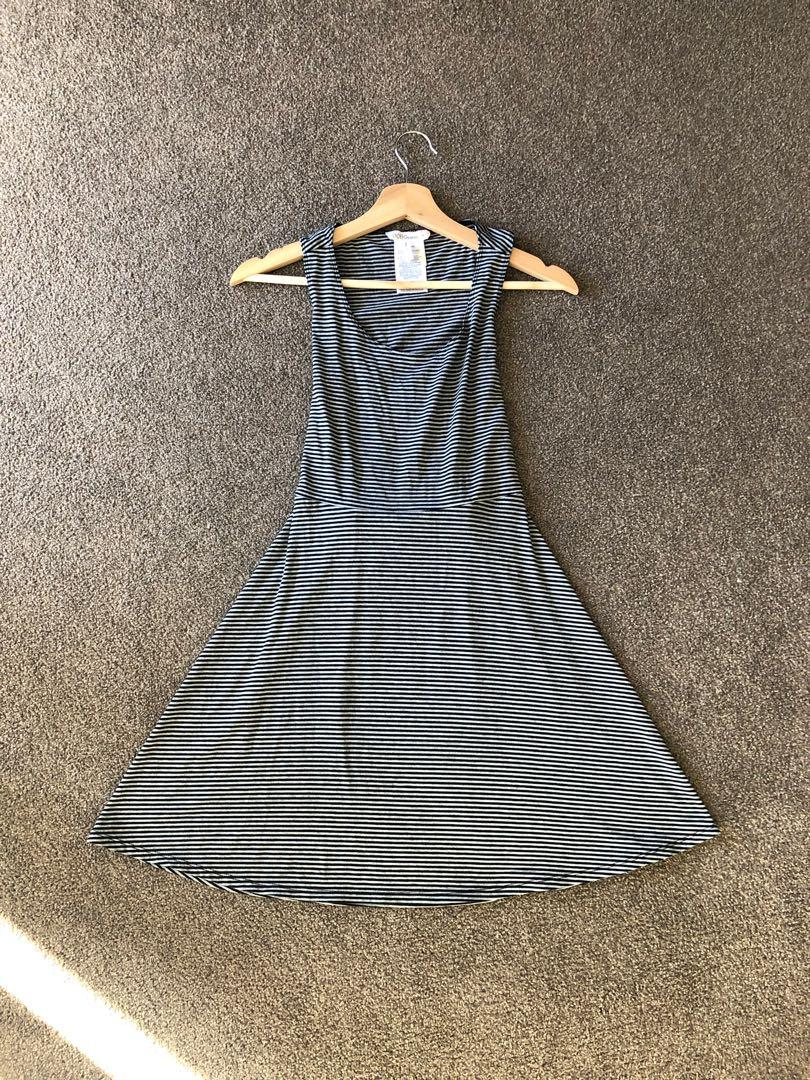 BCBG Generation Grey Striped Jersey Dress (Open Back Detail)