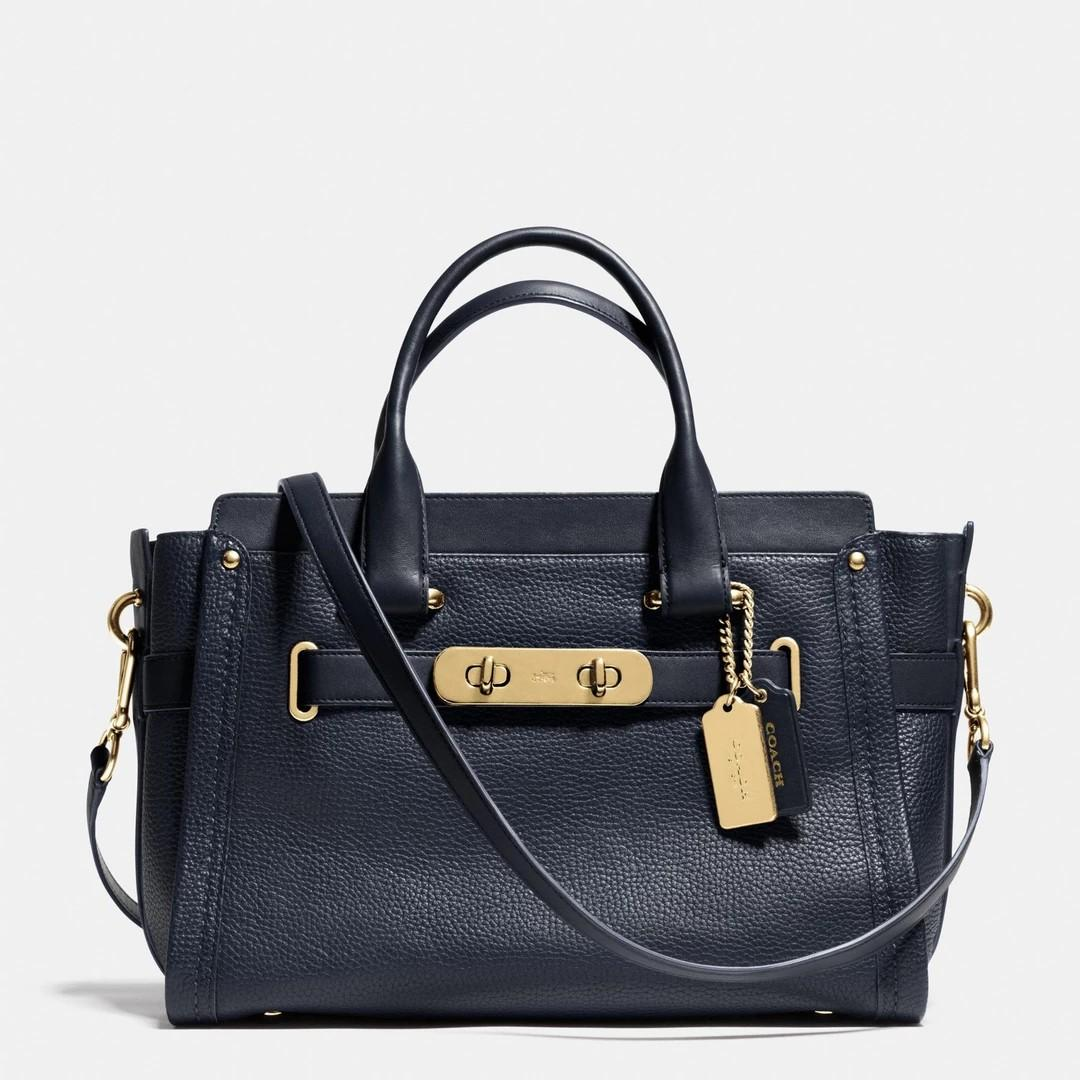 *Brand New* Coach Pebbled Leather Swagger 27 in Navy