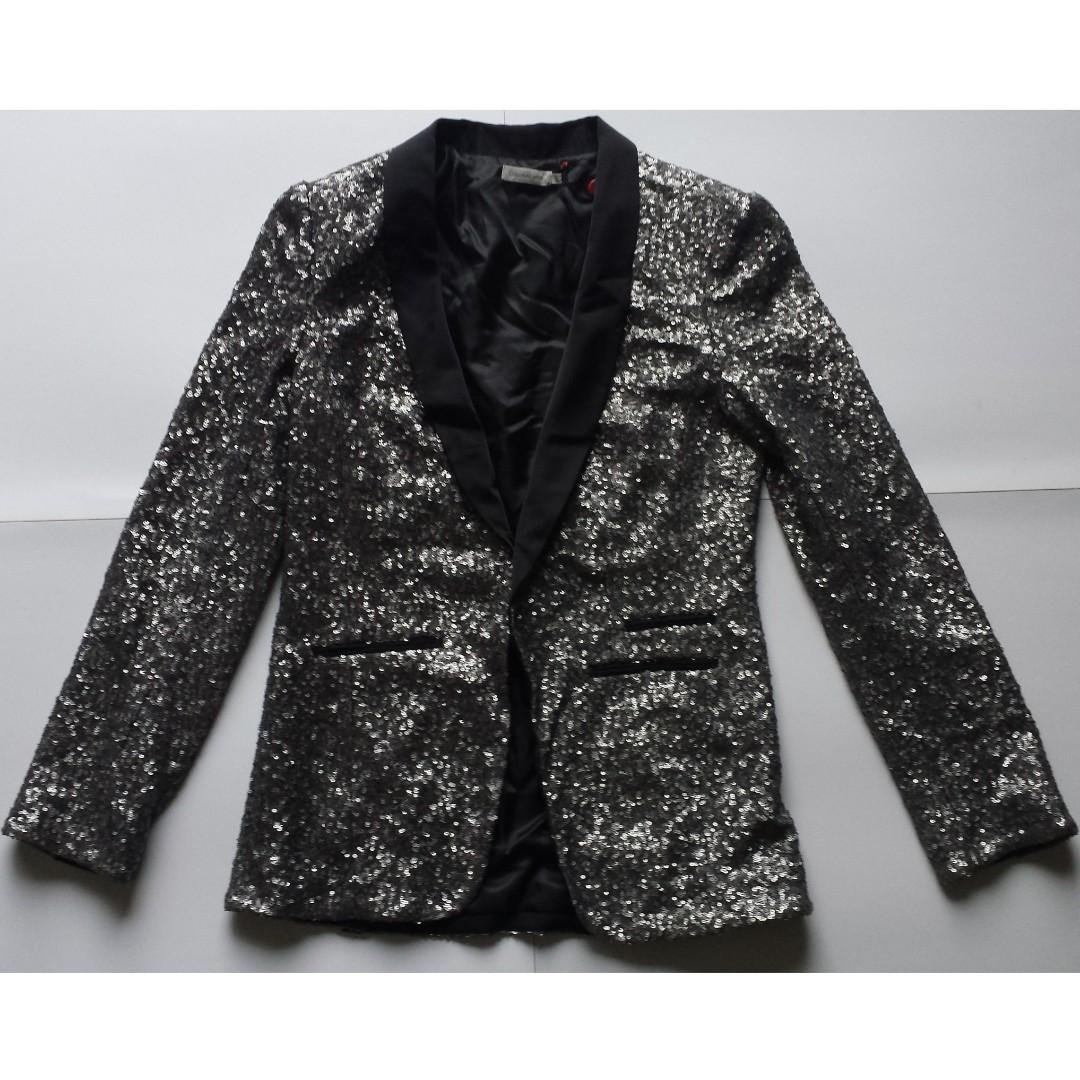 (Brand New Sample) Calvin Klein Black/Charcoal Sequin Shawl Collar Blazer - Size S NWOT