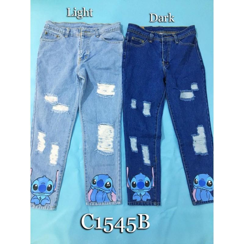 C1545b Celana Jeans Wanita Jeans Sobek Furing Jeans Kartun Jeans Patch Jeans Lucu Jeans Motif Jeans Casual Jeans Kekinian Fesyen Wanita Pakaian Wanita Bawahan Di Carousell