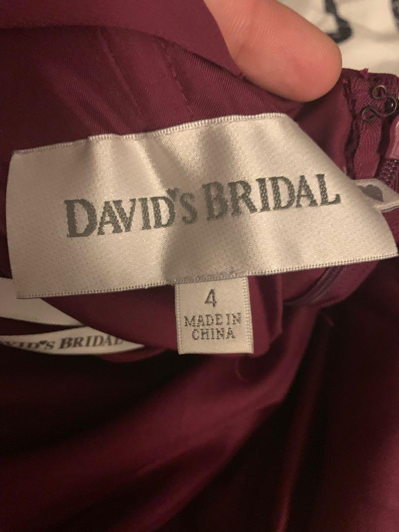 David's Bridal Gown/Dress in Sangria (NEW) - Size 4