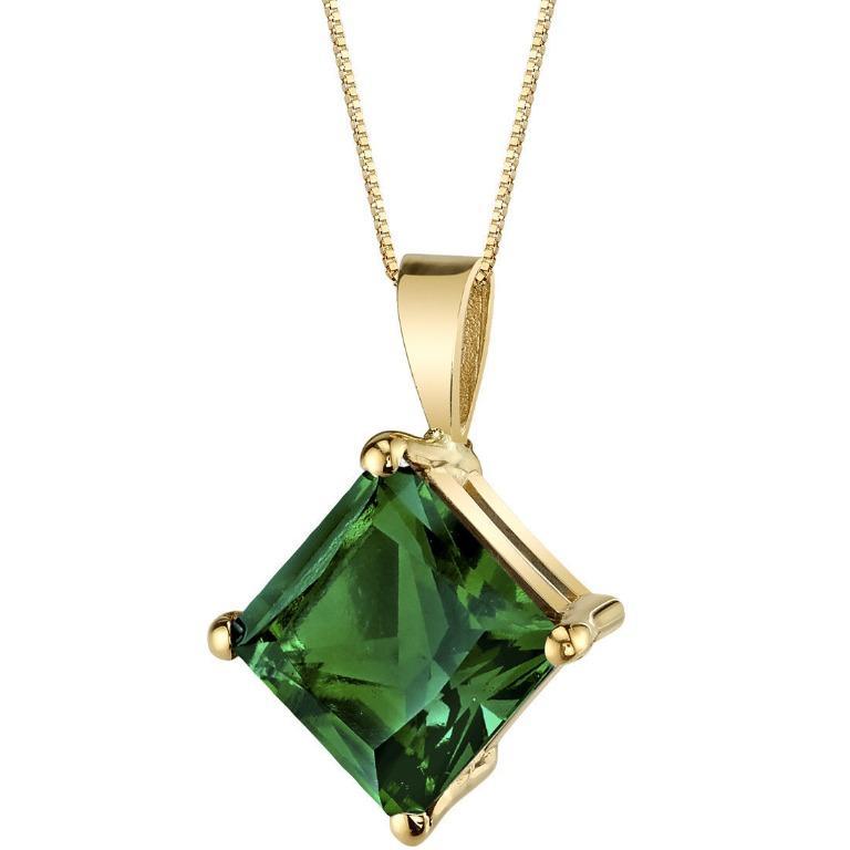 Emerald Pendant 14K Yellow Gold 2.25 CT Lab Created Princess 8mm Gemstone Jewelry
