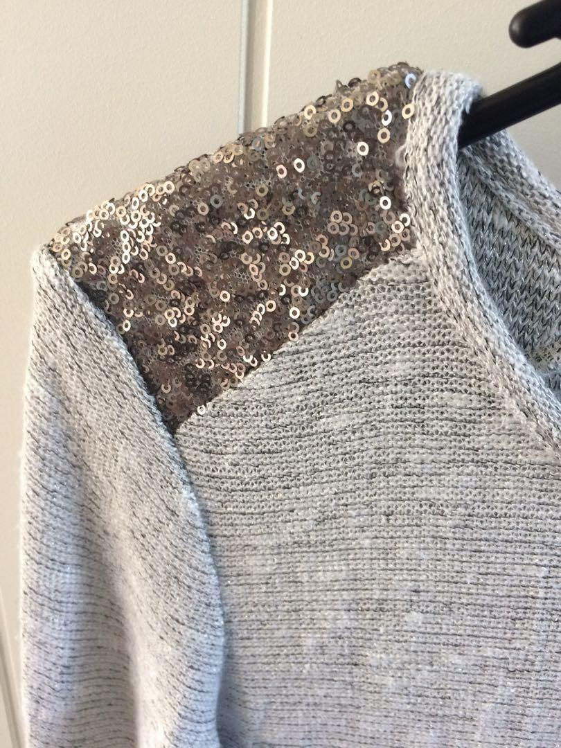Forever New sequin detail silver jumper - fits 6-8
