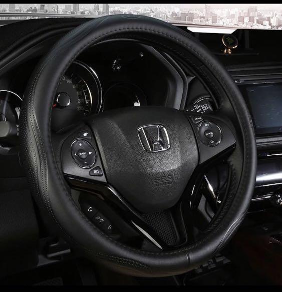 Full leather black steering wheel cover
